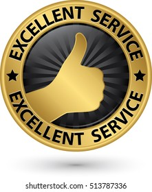 Excellent service golden sign with thumb up, vector illustration