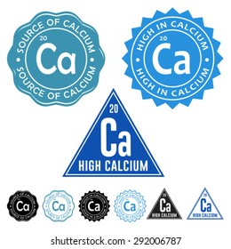Excellent Source of Calcium, High in Calcium and High Calcium Seals Icons with variation set