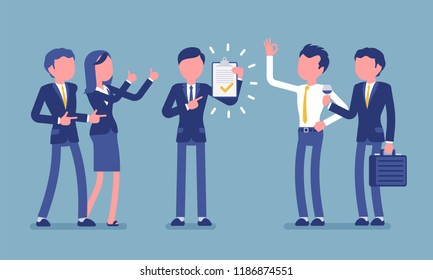 Excellent work award on blue. Young man in the office given professional recognition by coworkers for good job, acknowledge of skills. Business style vector concept illustration, faceless characters