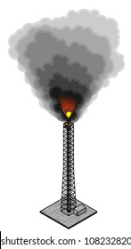 An excess gas burn-off flare tower. Black smoke and soot.