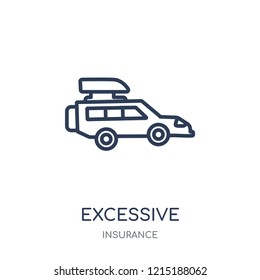 Excessive weight for the vehicle icon. Excessive weight for the vehicle linear symbol design from Insurance collection.