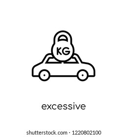 excessive weight for the vehicle icon. Trendy modern flat linear vector excessive weight for the vehicle icon on white background from thin line Insurance collection, outline vector illustration