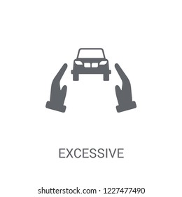 Excessive weight for the vehicle icon. Trendy Excessive weight for the vehicle logo concept on white background from Insurance collection. Suitable for use on web apps, mobile apps and print media.