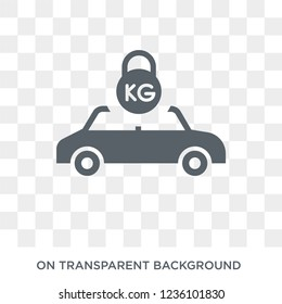 Excessive weight for the vehicle icon. Trendy flat vector Excessive weight for the vehicle icon on transparent background from Insurance collection. High quality filled Excessive weight for the