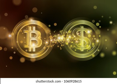Exchange bitcoins for USD. Bitcoin sale for dollars. Bitcoin sale rate. Bitcoin and dollar coin with blurred gold star dust background. Blockchain and cryptocurrency economy vector illustration.