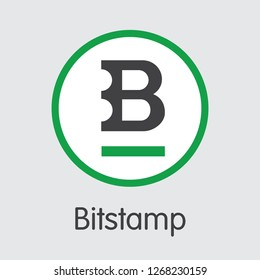 Exchange - Bitstamp Copy. The Crypto Coins or Cryptocurrency Logo. Market Emblem, Coins ICOs and Tokens Icon.