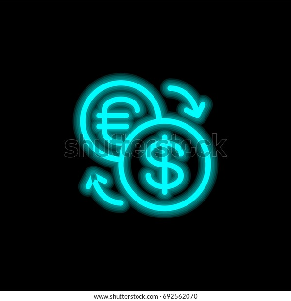 Exchange blue glowing neon ui ux icon. Glowing sign logo vector