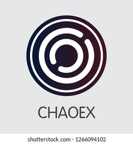 Exchange - Chaoex Copy. The Crypto Coins or Cryptocurrency Logo. Market Emblem, Coins ICOs and Tokens Icon.