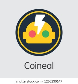 Exchange - Coineal. The Crypto Coins or Cryptocurrency Logo. Market Emblem, Coins ICOs and Tokens Icon.