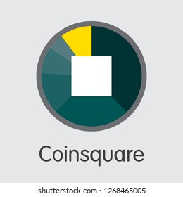 Exchange - Coinsquare. The Crypto Coins or Cryptocurrency Logo. Market Emblem, Coins ICOs and Tokens Icon.