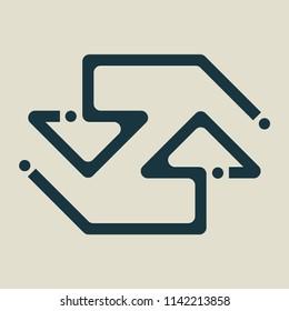 Exchange and convert icon. Arrow, trade, return. Vector illustration.
