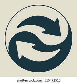 Exchange and convert icon. Arrow, trade, return. Yin Yang. Vector