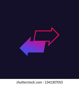exchange or convert, vector logo with arrows