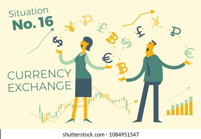 Exchange of currency. Business infographics with illustrations of business situations.  Illustration of a cheerful businesswoman juggling with currency and money. Exchange rate. For presentations.