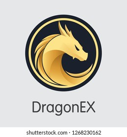 Exchange - Dragonex. The Crypto Coins or Cryptocurrency Logo. Market Emblem, Coins ICOs and Tokens Icon.