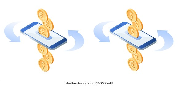 The exchange of euros to dollars. The currency conversion process. Flat vector isometric illustration of euro coins, metal dollars, smart phone. The mobile banking, money, business, transfer concept.