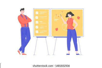 Exchange of experience, working negotiations, discussion of the plan, a woman with a pointer in her hands shows on a demo board, checklist and task management, cartoon character, flat vector illustrat