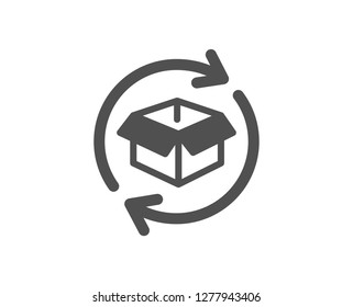 Exchange of goods icon. Return parcel sign. Package tracking symbol. Quality design element. Classic style icon. Vector
