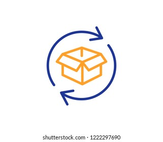 Exchange of goods line icon. Return parcel sign. Package tracking symbol. Colorful outline concept. Blue and orange thin line color icon. Return parcel Vector