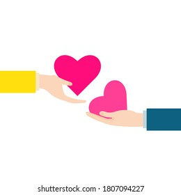 an exchange of hearts.  heart, love concept vector illustration for graphic design, website or banner