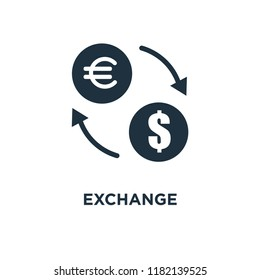 Exchange icon. Black filled vector illustration. Exchange symbol on white background. Can be used in web and mobile.