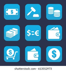 Exchange icon. set of 9 filled exchange icons such as wallet, dollar, auction, money