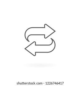 Exchange icon. Symbol of Exchange and Convert, Convert icon vector. Symbol of bidirectional arrows. Arrows thin line icon