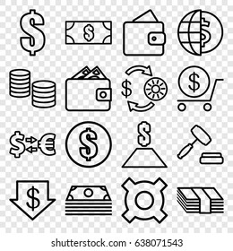 Exchange icons set. set of 16 exchange outline icons such as wallet, casino chip and money, dollar down, dollar, auction, money, money exchange, globe dollar