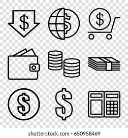 Exchange icons set. set of 9 exchange outline icons such as dollar down, dollar, money, wallet, atm