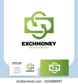 Exchange letter S and Arrow logo. Financial services cash back concept money refund return