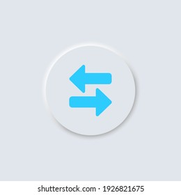 Exchange, right and left arrows vector icon in button in neumorphism design style