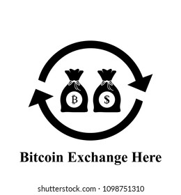 Exchange symbol, Bitcion and Dollar  logo, Bag of money in black and white icon