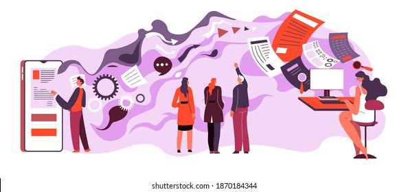 Exchanging data online in internet. People using gadgets to receive and send information. Marketing or project of company. Employees with documents and papers for business. Vector in flat style