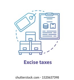 Excise taxes blue concept icon. Legislated taxation on products idea thin line illustration. Tax levied on commodities, services and activities. Purchase fee. Vector isolated outline drawing
