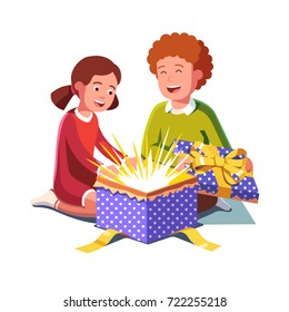 Excited boy and girl kids opening big wrapped gift box exploding with magic light fireworks. Holidays, birthday unboxing congratulations card template. Flat style vector isolated illustration.