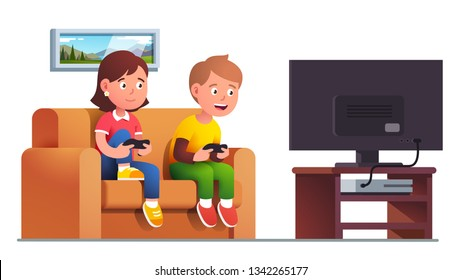 Excited boy & girl kids sit on sofa playing console video game together holding controllers. Gamers children cartoon characters at tv screen. Entertainment & leisure. Flat vector gaming illustration