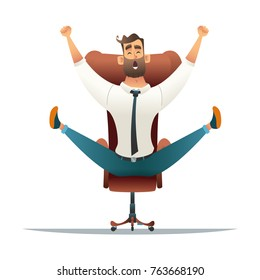 Excited businessman with arms raised while sitting