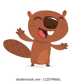 Excited cartoon beaver laughing. Brown beaver character. Vector illustration clip art