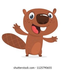 Excited cartoon beaver waving with his hands. Brown beaver mascot. Vector illustration