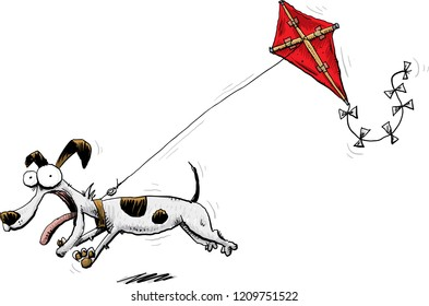 An excited cartoon dog running and pulling a kite in the air behind it.