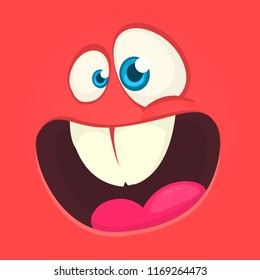Excited cartoon monster face avatar. Vector Halloween red monster with big mouth