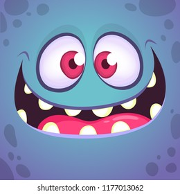 Excited cartoon monster face. Vector Halloween blue  monster with wide mouth smiling. Design for print, children book, party decoration or logo