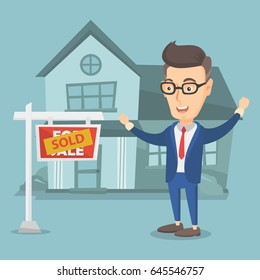 Excited caucasian real estate agent standing in front of sold real estate placard and house. Full length of happy real estate agent who sold a house. Vector flat design illustration. Square layout.