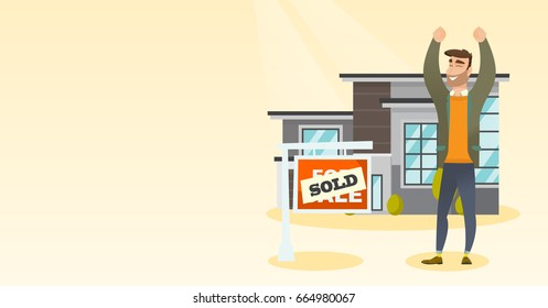 Excited caucasian real estate agent standing in front of sold real estate placard and house. Full length of happy real estate agent who sold a house. Vector flat design illustration. Horizontal layout