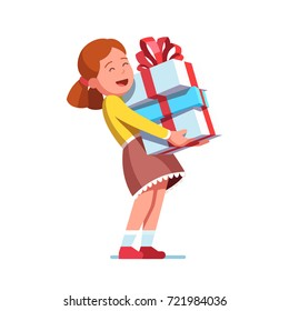 Excited cute little girl kid holding big wrapped gift boxes stack decorated with red ribbon bow. Holiday or birthday celebration. Flat style vector illustration isolated on white background.