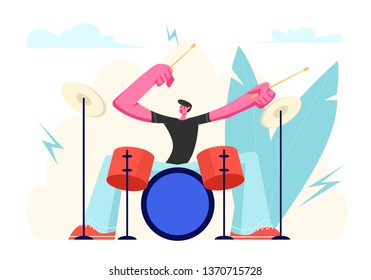 Excited Drummer Playing Hard Rock Music with Sticks on Drums. Talented Musician Character Performing on Stage with Percussion Instrument. Music Star Entertainment Show Cartoon Flat Vector Illustration
