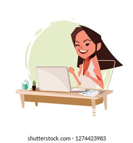 Excited female online with laptop. get job and happy women - vector illustration