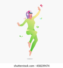 Excited girl in virtual reality. Vector illustration