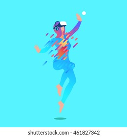 Excited girl wearing virtual reality headset. Vector illustration