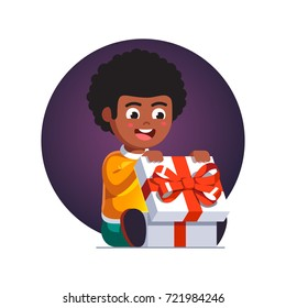 Excited little boy kid opening big wrapped gift box decorated with red ribbon bow.  Holiday or birthday greeting card template. Flat style vector illustration isolated on white background.